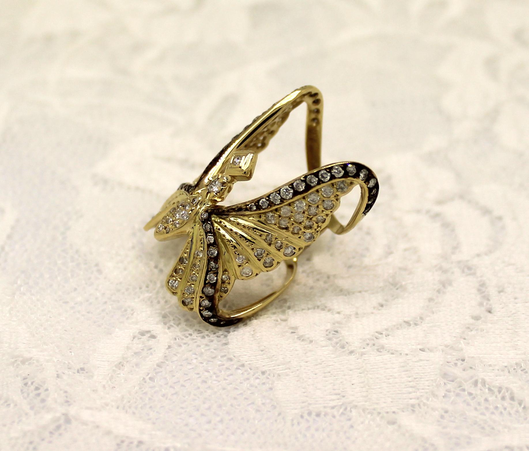 Anel Borboleta 1,75cts de Diamante Ouro Amarelo com rodium negro 126858c5e1