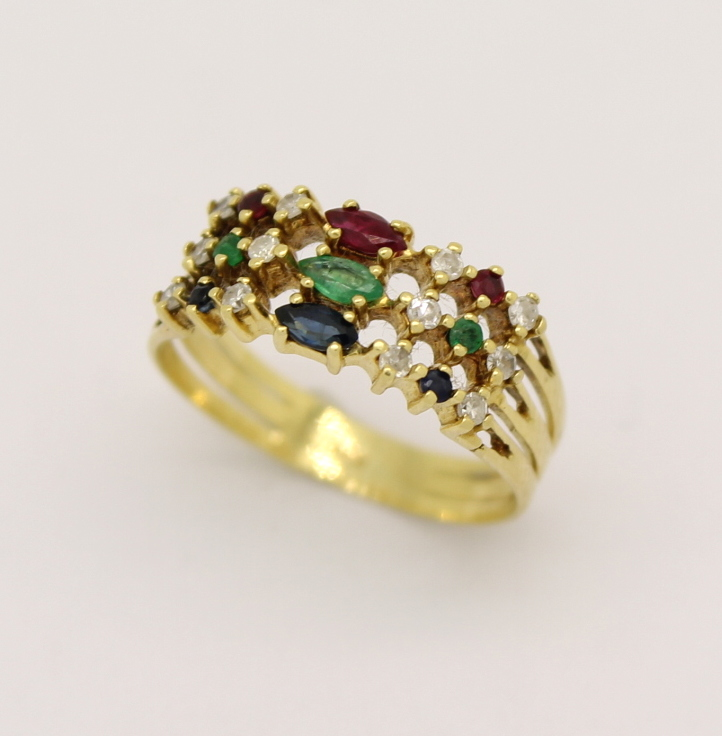 Meia Aliança Diamante, Rubi, Safira, Esmeralda e Ouro 18k 750 ... 1f5e856c71