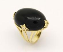 Anel Onix Cabochon Zircônio Ouro Amarelo 18k 750 (3)