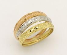 Anel Ouro Amarelo, Branco e  Vermelho 18k 750 (6)