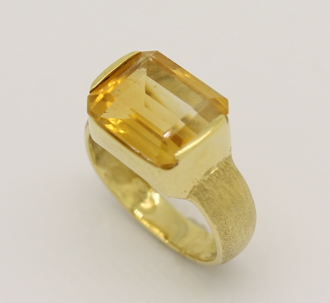 Anel Topázio Amarelo Fosco em Ouro Amarelo 18k 750 - Marcio ... 751184f306