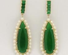 Brinco Pendurado Jade, Esmeralda e Pérolas Ouro Amarelo 18k 750 (4)