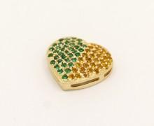 Pingente Coração Turmalina Verde e Topazio Amarelo ouro Amarelo 18k 750 (4)