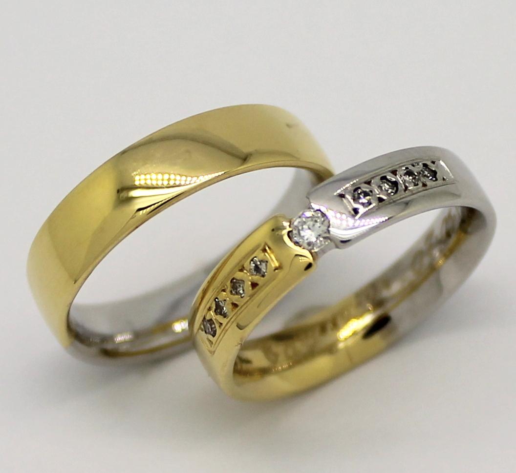 464c7f63fe6 Aliança Flutuante 10 gramas Zircônios Ouro Amarelo e Ouro Branco 18k ...