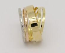 Anel Feminino Ouro Amarelo Branco Vermelho 18k 750 (4)