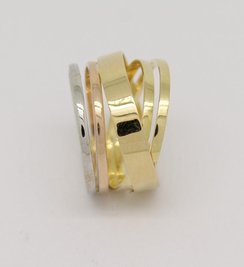 c223f28d4ed Anel Feminino Ouro Amarelo Branco Vermelho 18k 750 - Marcio ...