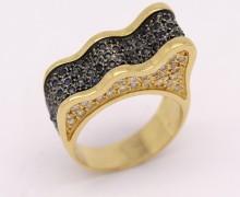 Anel Ondas Safira e Diamantes Ouro Amarelo 18k 750 (2)
