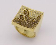 Anel Trabalhado Diamante e Diamante Negro Ouro Amarelo 18k 750 (4)