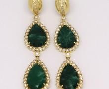 Brinco 2 Gotas Esmeralda e Zircônios Ouro Amarelo 18k 750  (3)