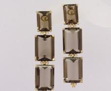 Brinco Cristal Fumê Diamantes Ouro Amarelo 18k 750 (17)