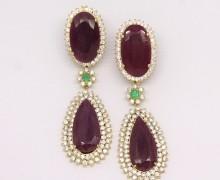 Brinco Rubi Indiano Esmeralda E Zirconios Ouro Amarelo 18k 750 (1)