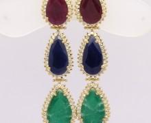 Brincos Gotas Rubi, Safira, Esmeralda e Safiras Austriacas Ouro Amarelo 18k 750 (1)