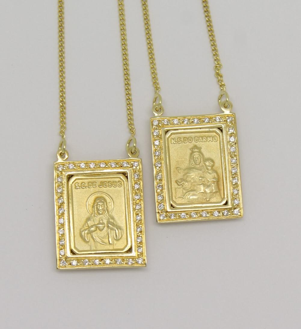 0695ec7c3d217 Escapulário Zircônio Ouro Amarelo 18k 750   Marcio Joalheiros
