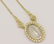 Gargantilha Medalha Milagrosa Ouro Amarelo Ouro Branco Zircônios Ouro Amarelo 18k  750 (3)