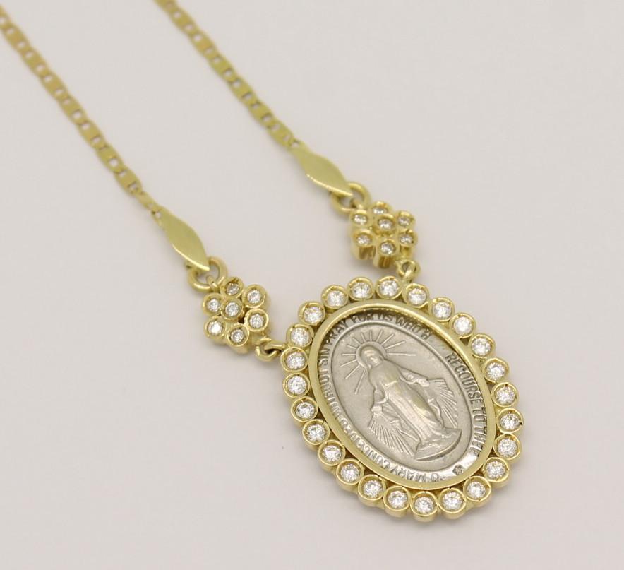 cf32d4614ad3d Gargantilha Medalha Milagrosa Zircônios Ouro Amarelo Ouro Branco 18k 750