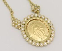 Gargantilha Medalha Milagrosa Zircônios Ouro Amarelo 18k 750 (5)