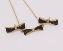 Gargantilha e Brincos Diamantes Negros, Rodium Negro, Safiras Austríacas OA 18k 750  (12)