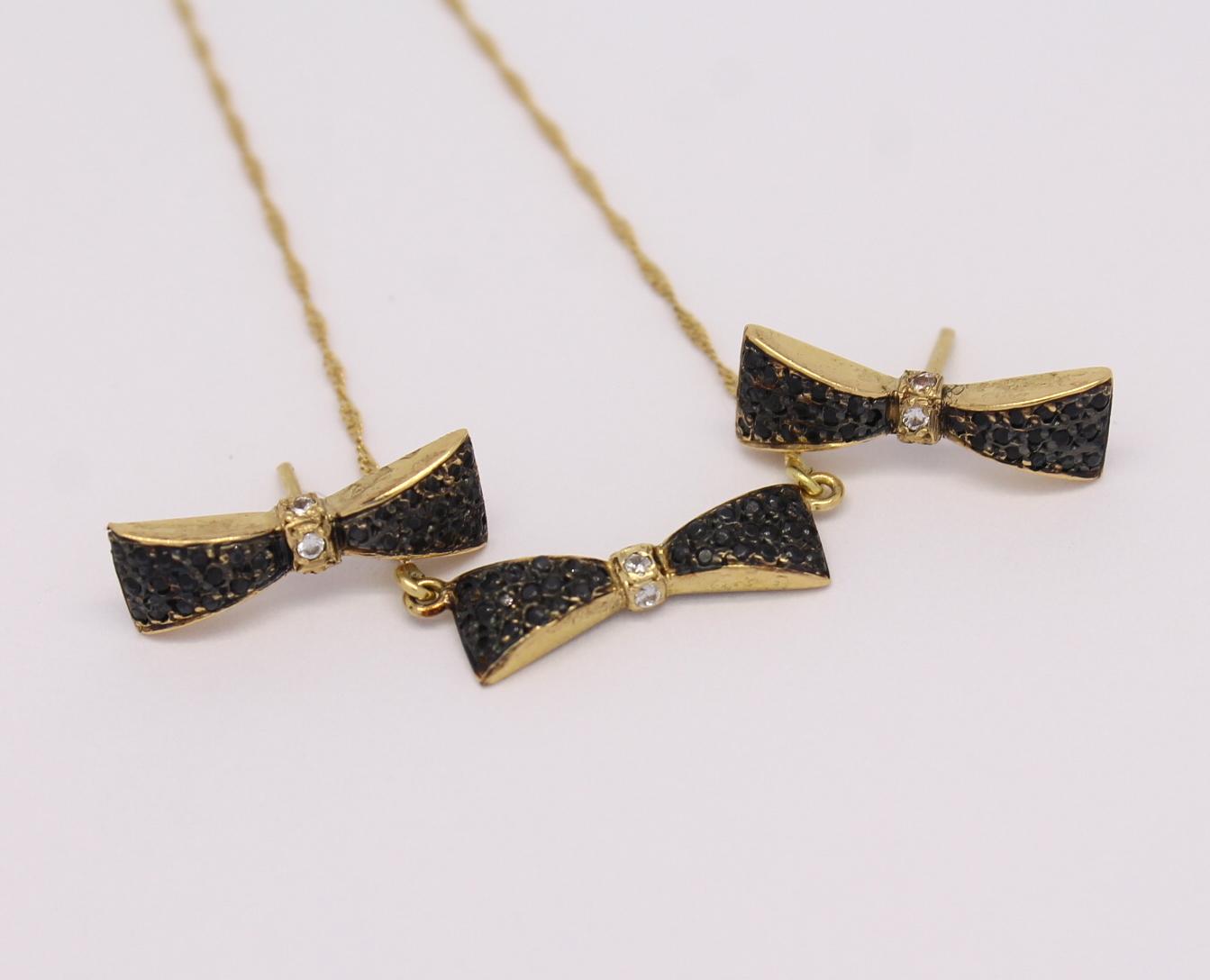 Conjunto Laço Diamantes Negros, Rodium Negro, Safiras Austríacas OA 18k 750 eb63c39722