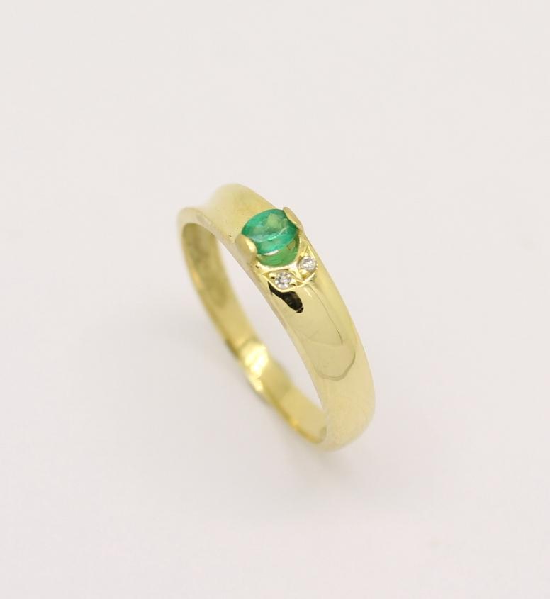 59319c55d7861 Meia Aliança Esmeralda Diamante Ouro Amarelo 18k 750 - Marcio ...