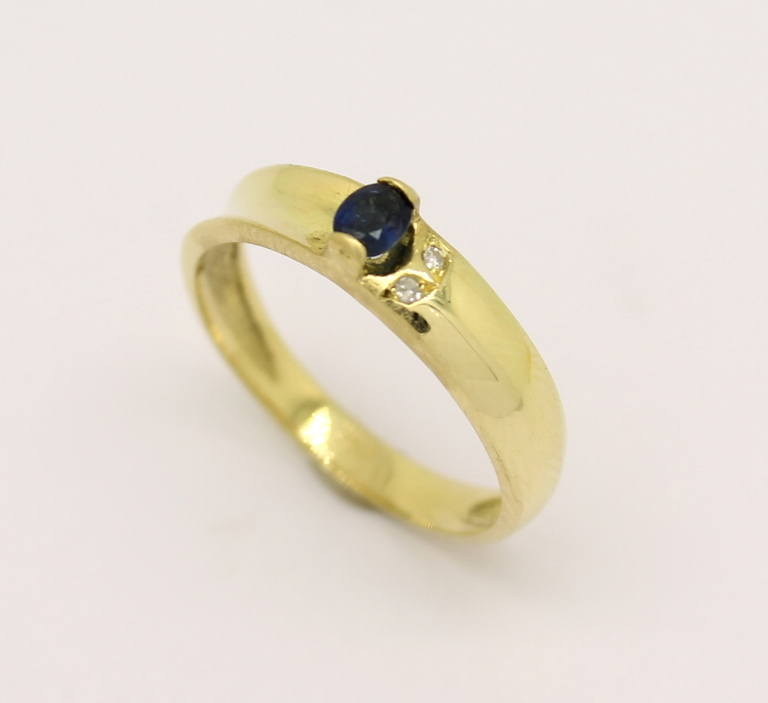 Meia Aliança Safira Diamante Ouro Amarelo 18k 750 - Marcio ... 88498a7aa4