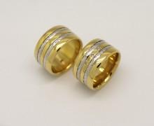 Par De Alianças 10mm 40 Gramas Ouro Amarelo e Branco 18k 750 (1)