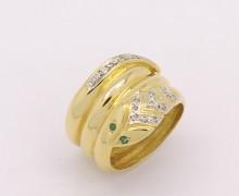 Anel Cobra Esmeralda e Diamantes Ouro Amarelo 18k 750 (2)