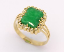 Anel Jade Diamantes Ouro Amarelo 18k 750 (3)