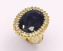 Anel Safira Azul Oval Zirconios Ouro Amarelo 18k 750 (46)