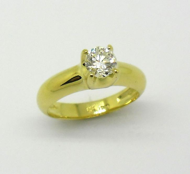 6d62238e6c223 Anel Solitário 1ct Diamante Ouro Amarelo 18k 750 - Marcio Joalheiros ...