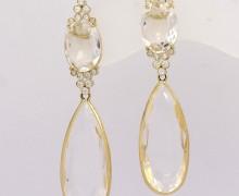 Brinco Cristal Gota e Safira Branca Ouro Amarelo 18k 750 (1)