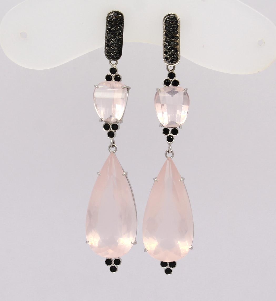 fff06d600e7ce Brinco Quartzo Rosa Diamante Negro Ouro Branco 18k 750 - Marcio ...