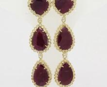 Brinco Rubi Indiano Gotas Zirconios Ouro Amarelo 18k 750 (3)