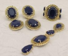 Conjunto Safira Azul, Safiras Amarelas e Diamantes Negros Ouro Amarelo 18k 750 (1)