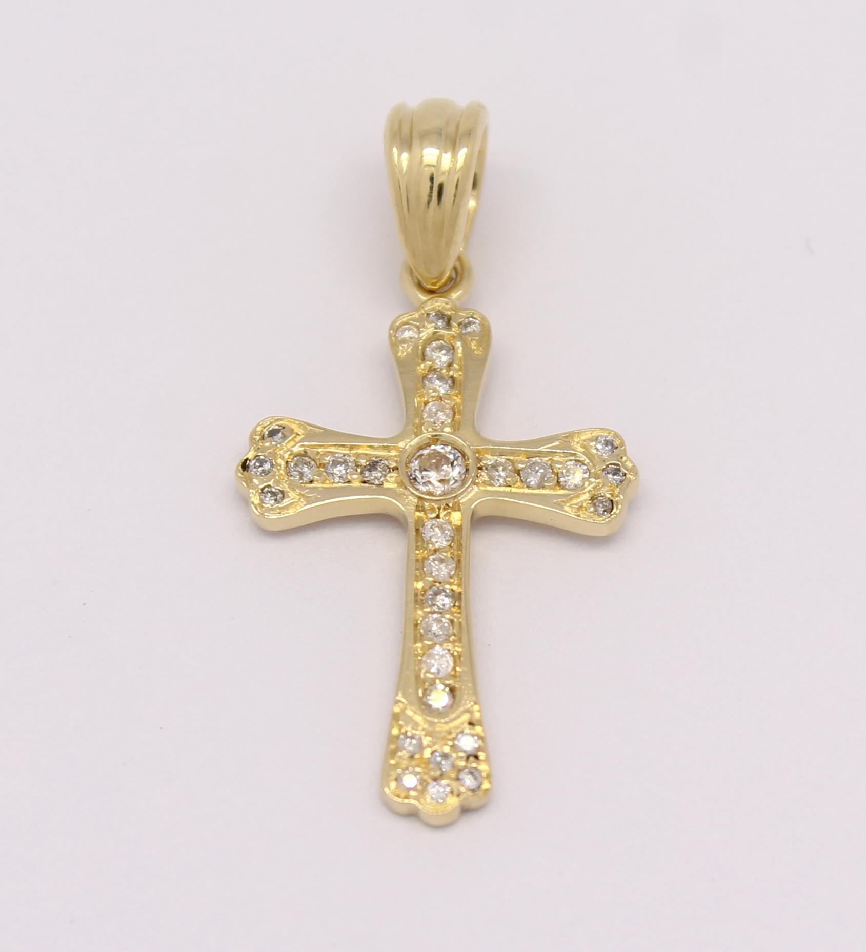 7f6ae0c9859f9 Cruz Pequena Diamantes Ouro Amarelo 18k 750 - Marcio Joalheiros ...