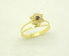 Anel Chuveiro Diamante e Safira Ouro Amarelo 18k 750