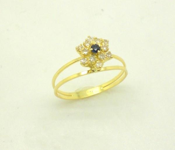 dffeae706d1 Anel Chuveiro Diamante e Safira Ouro Amarelo 18k 750 - Marcio ...