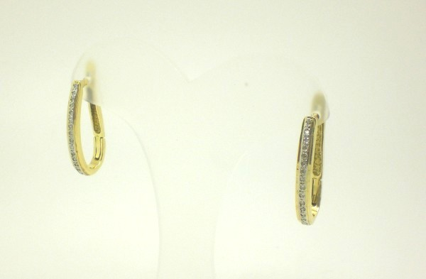 e8a0e58a8b500 Brinco de Argola Diamantes Ouro Amarelo e Ouro Branco 18k 750 ...
