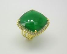 Anel Jade e Zircônios Ouro Amarelo 18k 750  (1)