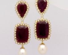 Brinco Rubi Diamante e Pérola Ouro Amarelo 18k 750 1 (1)