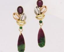 Brinco Rubi Jade e Esmeralda Ouro Amarelo Branco e Vermelho 18k 750 (1)