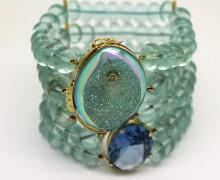 Pulseira Água Marinha, Drusa Azul, Diamante e Topázio Blue Sky Ouro Amarelo 18k 750 (2)