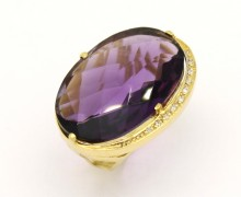 Anel Ametista Cabochon Diamantes Ouro Amarelo 18k 750 (8)