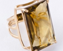 Anel Citrino Retangular Ouro Amarelo 18k 750