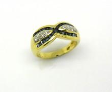 Anel Feminino Diamante e Safira Ouro Amarelo 18k 750 (3)