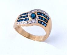 Anel Safira Azul Zircônio Ouro Amarelo 18k 750