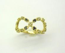 Anel de Falange Infinito Safiras e Diamantes Ouro Amarelo 18k 750 (2)