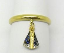Anel de Falange Nossa Senhora Aparecida Safira e Diamantes Ouro Amarelo 18k 750