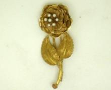 Broche Flor Fosca Pérolas Ouro Amarelo 18k 750