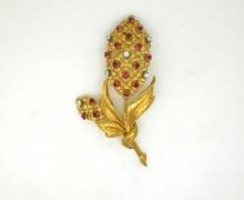 Broche Flor Rubi e Diamante Ouro Amarelo 18k 750