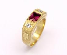 Anel de Formatura Masculino Pedras Sintéticas Ouro Amarelo 18k 750 (9)